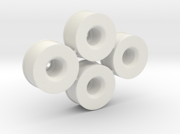 Mini-z Rear Wheelset 21mm +3.5mm, 2 pairs in White Natural Versatile Plastic