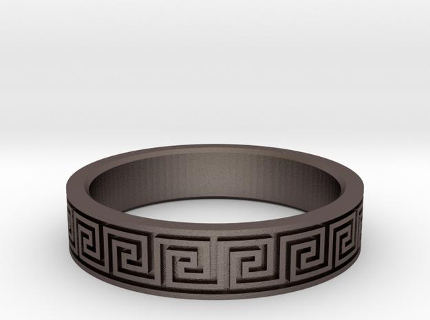 Greek Fieze Pattern Ring 19mm in Polished Bronzed-Silver Steel