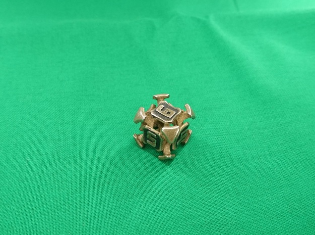 Quantum Dice D6  in Polished Bronzed Silver Steel