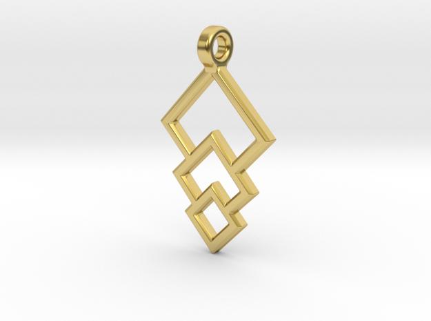 Geometric Triple Square Pendant in Polished Brass