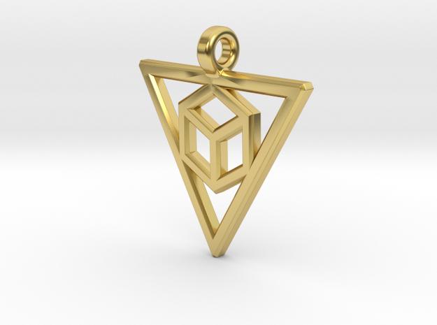 Geometric Triangle Pendant in Polished Brass