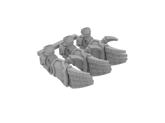 Miniature scale - Iron werewolf Claws RIGHT (3pc) in Smoothest Fine Detail Plastic