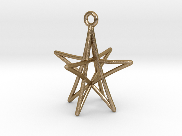 Star Ornament, 5 Points in Polished Gold Steel