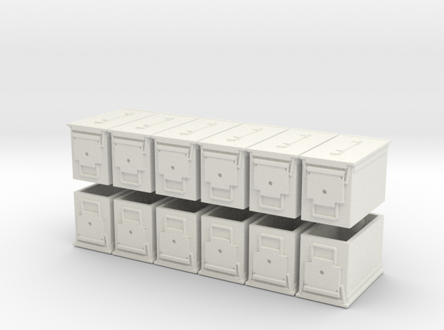 """1:18 Scale Ammo Can (PA-108 """"Fat .50"""") in White Natural Versatile Plastic"""