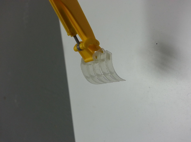 HO 1:87 excavator root rake attachment in Smooth Fine Detail Plastic
