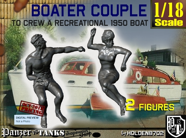 1/18 Recreation Boat Couple Set 2 in White Natural Versatile Plastic