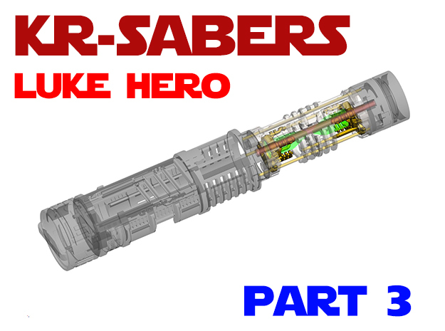 KR Luke Hero - Part3 Lightsaber Chassis in White Natural Versatile Plastic