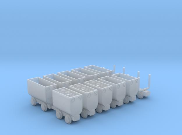 Grubenbahn Set3 - TTf 1:120 in Smooth Fine Detail Plastic