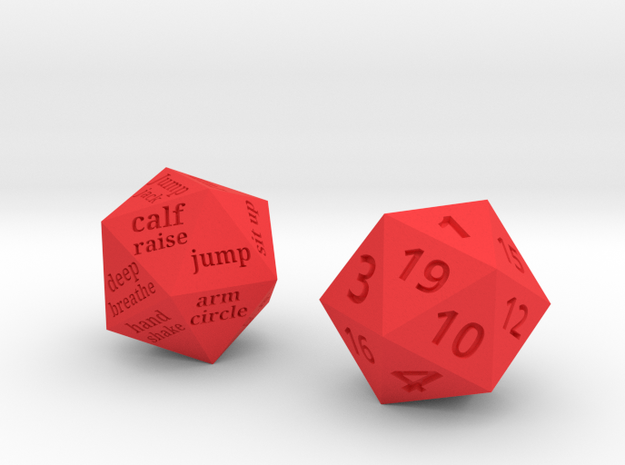 Fitness Dice D20 FINAL in Red Processed Versatile Plastic