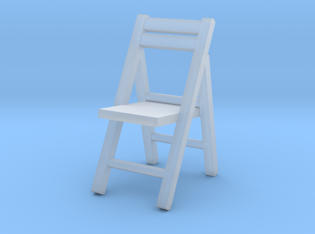 1:64 Wooden Folding Chair in Smooth Fine Detail Plastic
