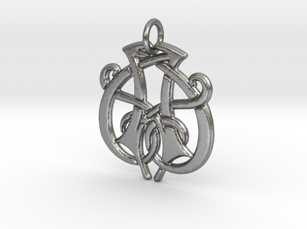 Monogram Initials AA.1 Pendant  in Natural Silver