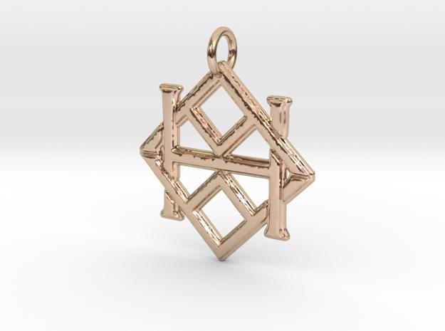 Monogram Initials AAH Pendant  in 14k Rose Gold