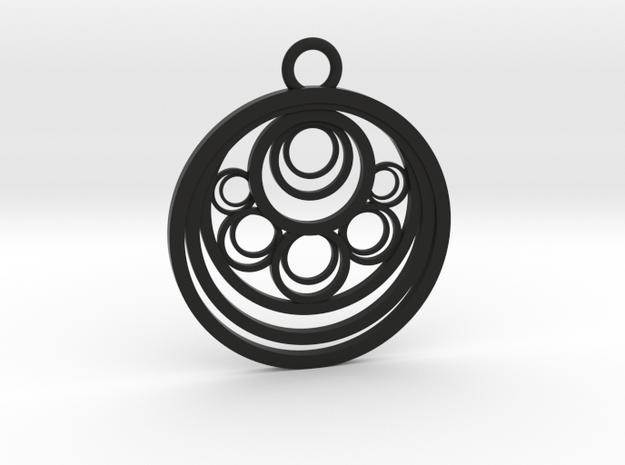 Geometrical pendant no.10 in Black Natural Versatile Plastic: Large