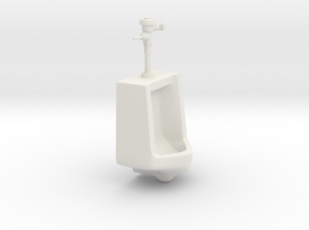 1:18 Scale Urinal with Manual Flush Handle in White Natural Versatile Plastic