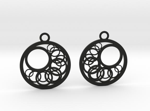Geometrical earrings no.16 in Black Natural Versatile Plastic: Small