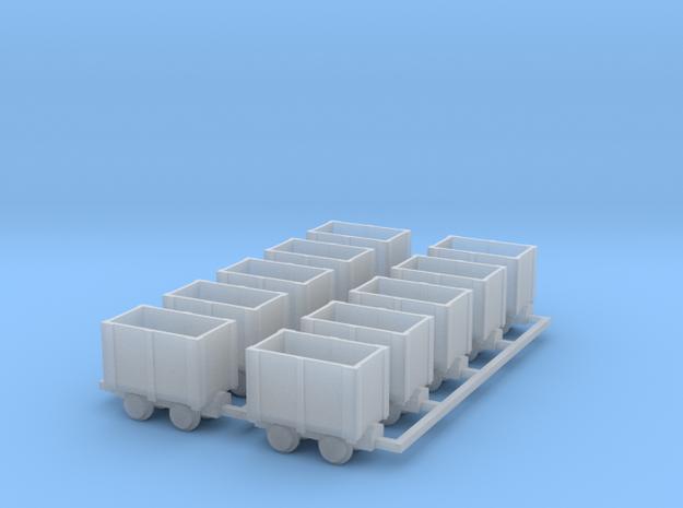 Holz-Kastenlore 10erSet - TTf 1:120 in Smooth Fine Detail Plastic