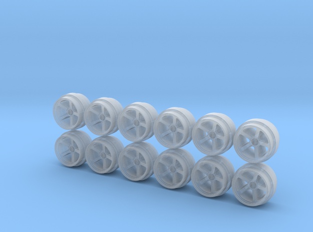 Set of 3 - Five spoke Concave Wheels  in Smooth Fine Detail Plastic