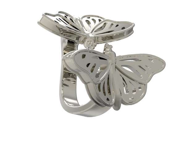 Butterflies in Love_L in Polished Silver