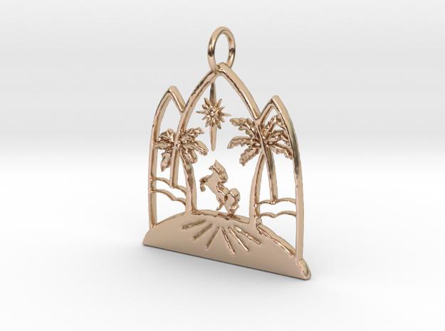 Desert Unicorn Pendant in 14k Rose Gold: Medium
