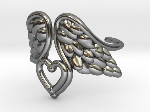 Tinas hearted wings in Polished Silver: 8 / 56.75