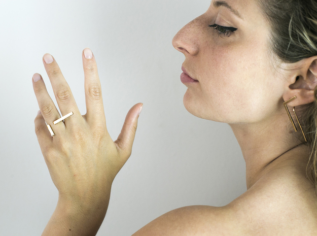 Minimal Double Line Ring in Natural Bronze: 4.5 / 47.75