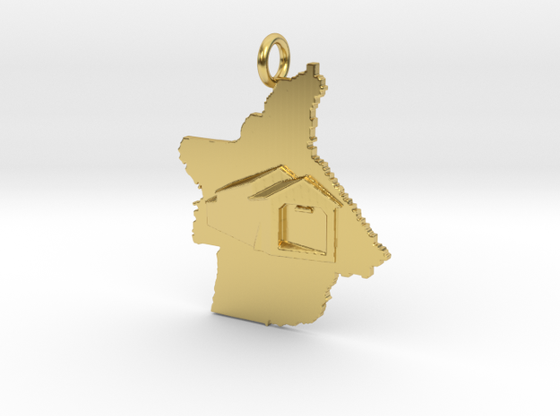 Butte-Honey Run Covered Bridge Pendant in Polished Brass: Small