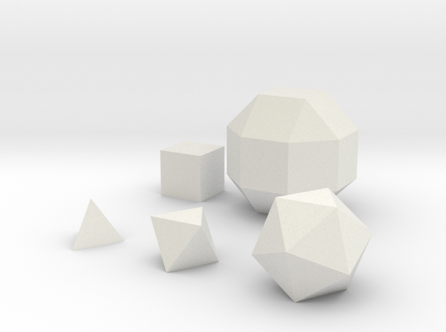 Solid Basic geometric shapes D4 D6 D8 D20 and D26 in White Natural Versatile Plastic
