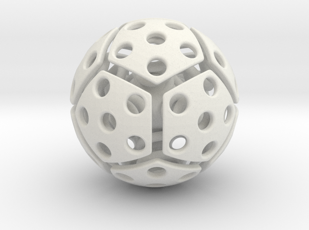 bouncing cat toy ball perforated size M in White Natural Versatile Plastic: Medium