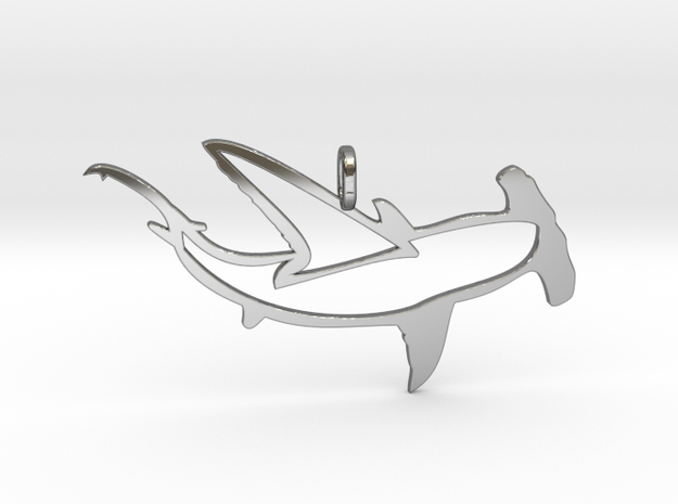 shark hammer pendant in Fine Detail Polished Silver
