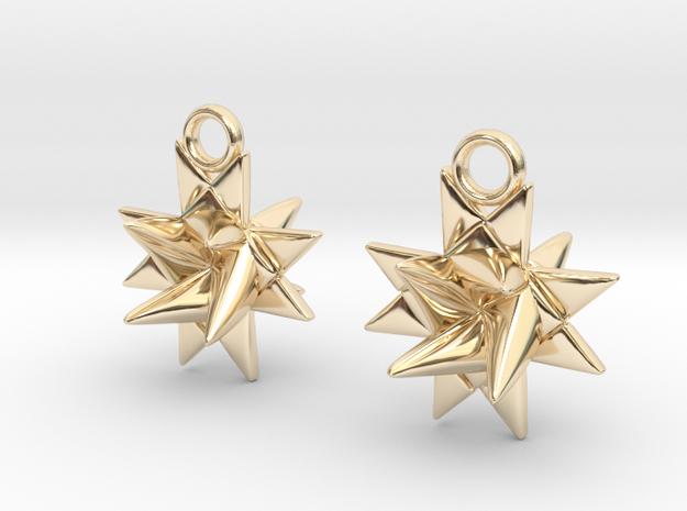 Fröbelstern Earrings in 14k Gold Plated Brass