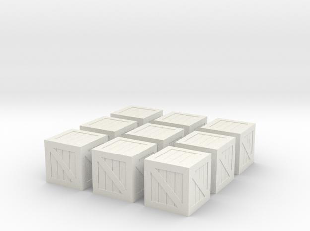 Crates(9 Ct) 28mm Scale in White Natural Versatile Plastic
