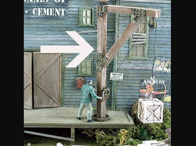 Wooden Jib Loading Crane HO Scale in Smooth Fine Detail Plastic