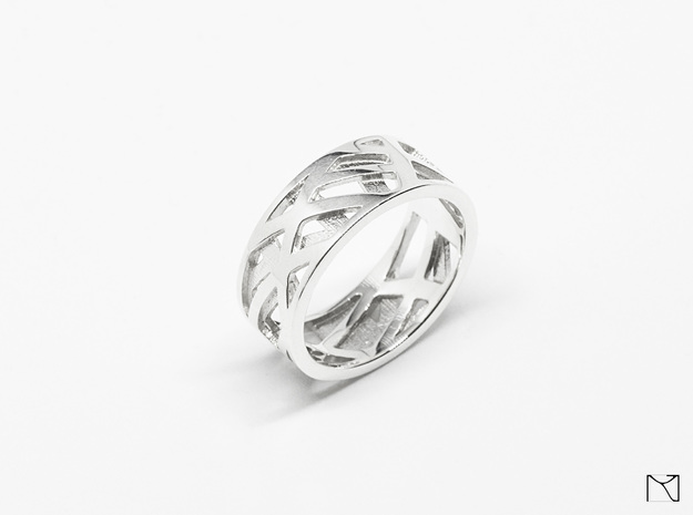 Double Sided Ring in Polished Silver: 13 / 69