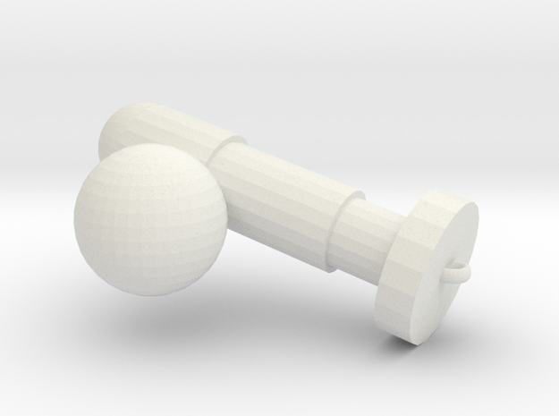 Ball charm in White Natural Versatile Plastic: Medium
