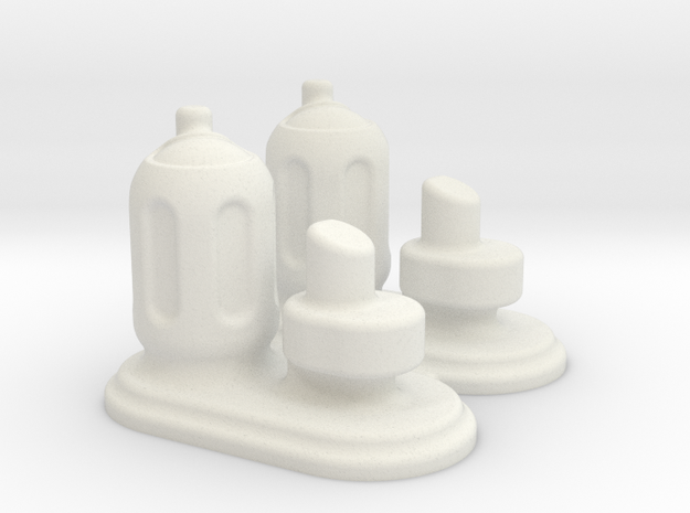 6mm Scale Small Chemical Stores - Pair in White Natural Versatile Plastic