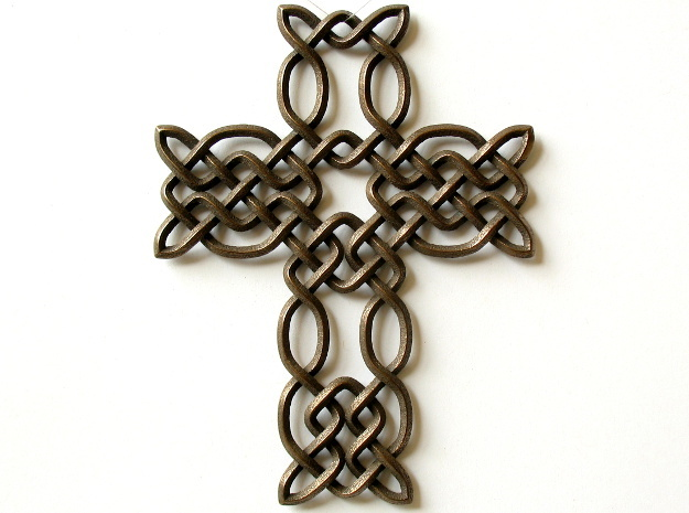 Celtic knot cross 3d printed Printed in polished bronze steel