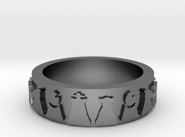 Simple Chess Ring - size 7 in Polished Nickel Steel