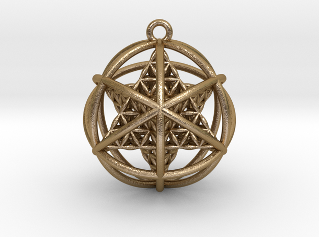 "Flower of Life Planetary Merkaba 1.4"" in Polished Gold Steel"