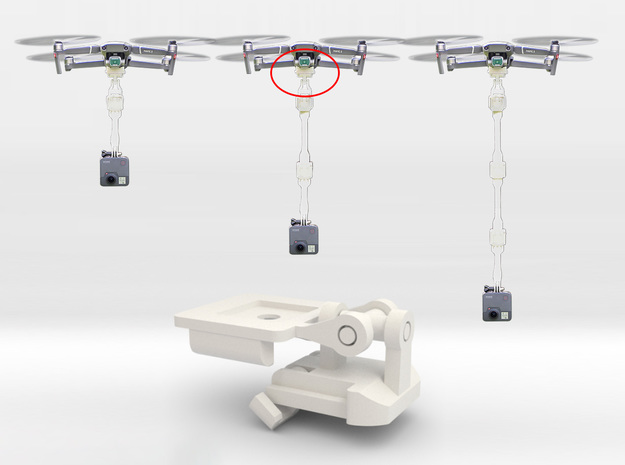 Passive Double Hinged Gimbal Compatible Connector  in White Natural Versatile Plastic