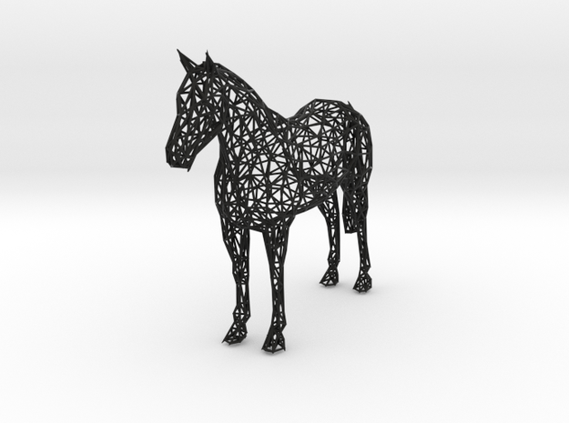Wireframe HORSE XXL in Black Natural Versatile Plastic