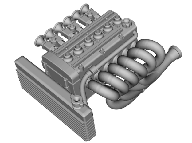 Carbed Inline 6 Twin Cam motor in Smoothest Fine Detail Plastic
