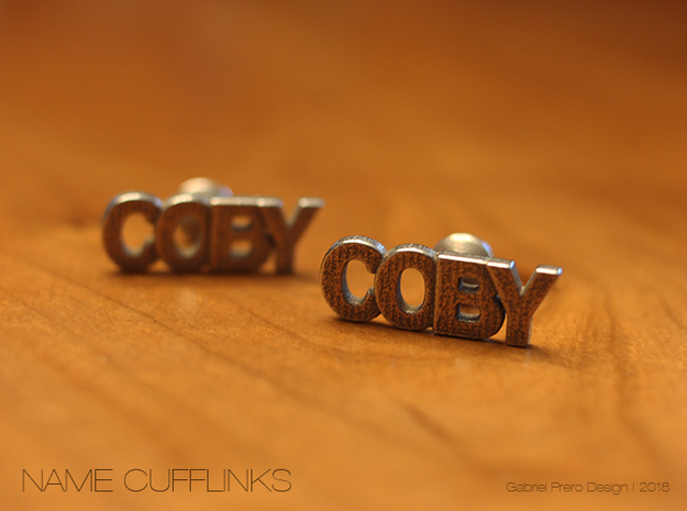 Custom Name Cufflinks - Coby in Polished Bronzed Silver Steel