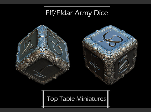 Elven Theme Dice in Smoothest Fine Detail Plastic
