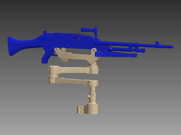 M240 articulated arm 1/18 in Smooth Fine Detail Plastic