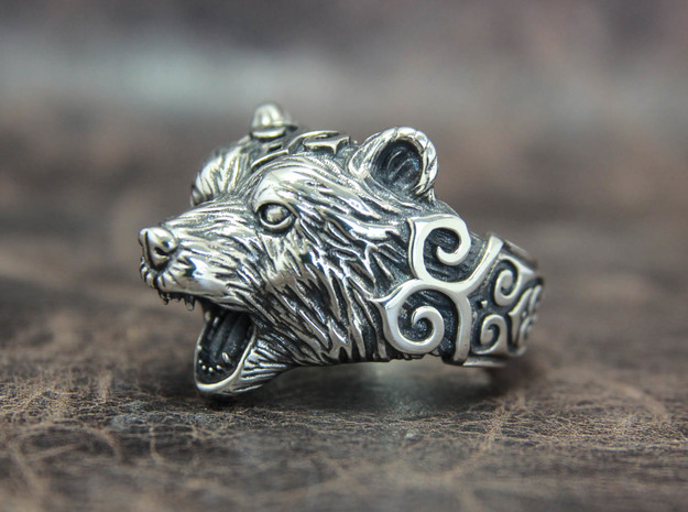 Bear Ring in Polished Silver: 10 / 61.5