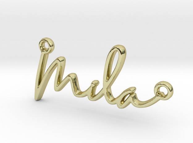 Mila Script First Name Pendant in 18k Gold Plated Brass
