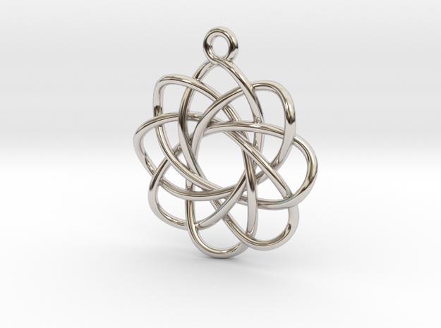 3D Spirograph Flower Pendant, 8 Petals in Rhodium Plated Brass