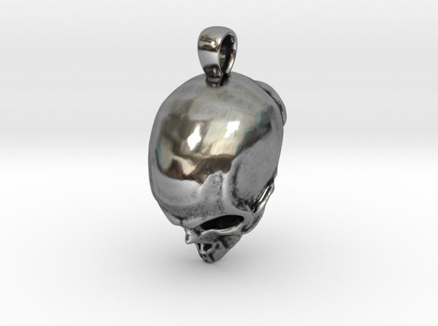 Skull Pendant in Antique Silver