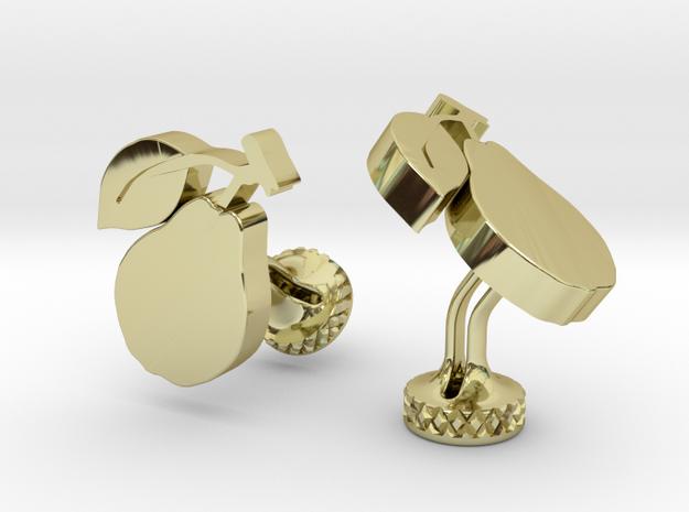 CUSTOM Pear Logo Cufflinks in 18k Gold Plated Brass