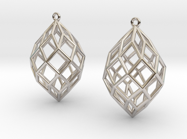 Pair of Rhombic Dotetracontahedral Earrings in Rhodium Plated Brass